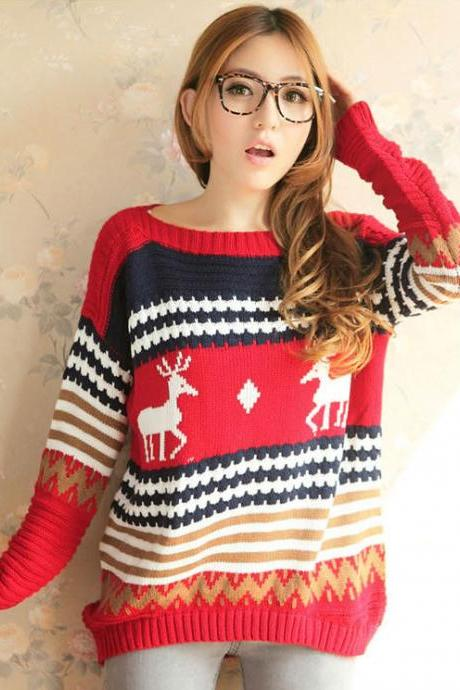 Fashion Bat Boat Neck Sleeve Fawn Printed Sweater
