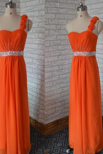 One Shoulder Sweetheart Coral Chiffon Prom dress red party dress evening dress backless homecoming dress