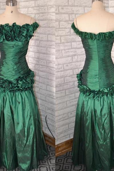 Emerald Green Evening Dresses ,Mermaid Prom Dress,Emerald Green Prom dress, vintage prom dress ,long party dress