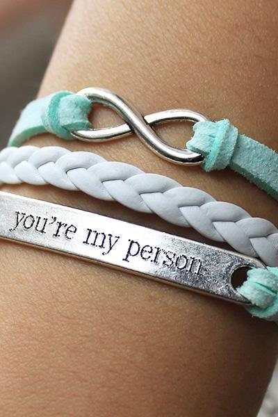 You are my person bracelet,mint green bracelet,infinity bracelet,engrave bracelet,custom engrave bracelet