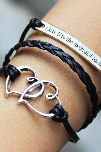 Black bracelet,heart to heart bracelet,I love u to the moon and back bracelet ,engrave bracelet,custom engrave bracelet ,Christmas gift