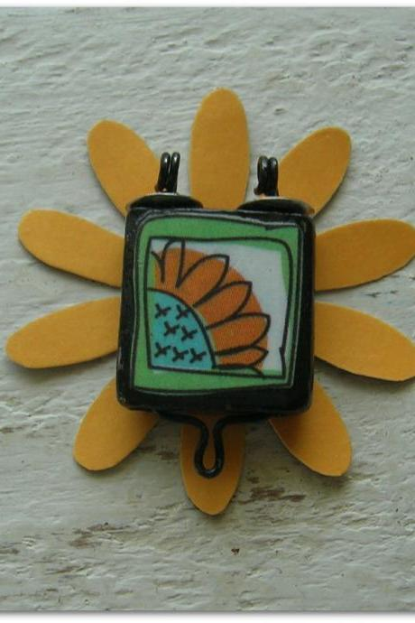 Believe In Yourself Altered Art Sunflower Bamboo Tile Pendant