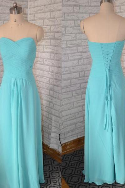 Ruched Chiffon Sweetheart Floor Length A-Line Bridesmaid Dress Featuring Lace-Up Back, Formal Dress