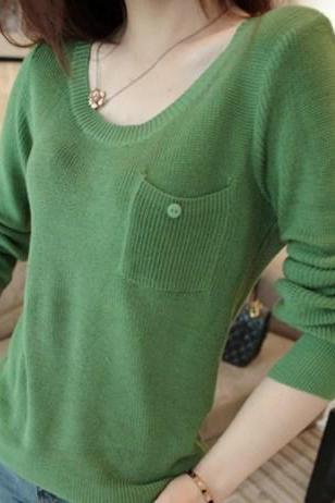 New 2014 Autumn All-Match Gentle Pocket Knitted Basic Shirt Female Slim Long-Sleeve Tops Women Sweater