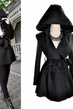 European Styles Hooded Long Sleeves Black Imitation Wool Long Trench With Belt