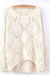 Beige Large Rhombic Hollow Sweet Sweater