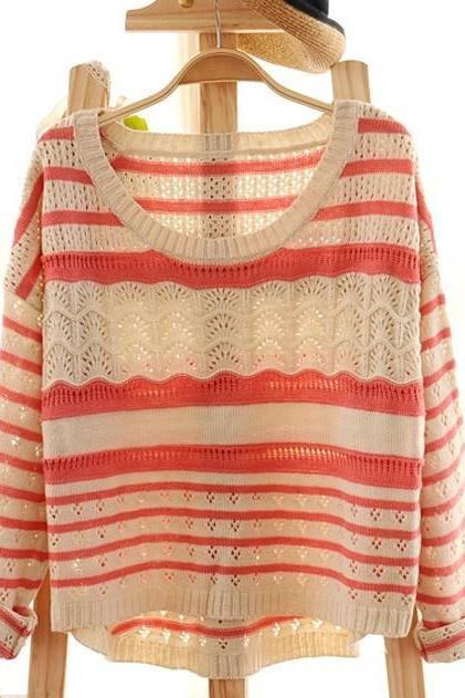 Pink Loose Hollow Striped Sweater
