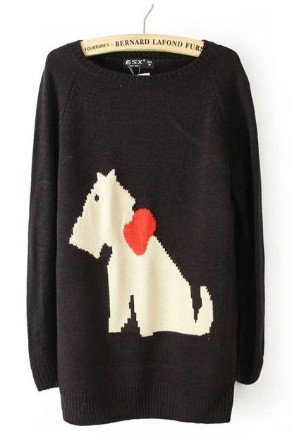 Puppy Patterned Jacquard Long Sleeve Sweater