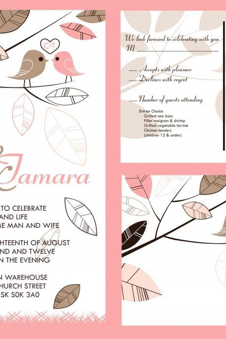 50 Budget Wedding Invitations and matching RSVP set