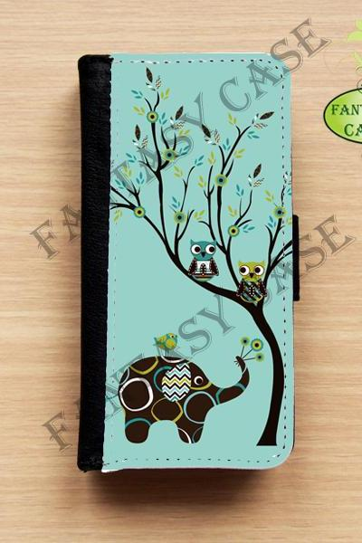 Elephant and Owls - iPhone 5 Wallet Case, Leather iphone 5s case, iPhone 6 Wallet Case, Leather iPhone 6 Case, Flip Case