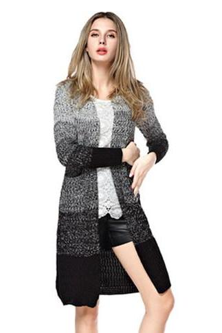 Women's Gradient Stripe Pattern Longline Knitwear Cardigan With Pockets