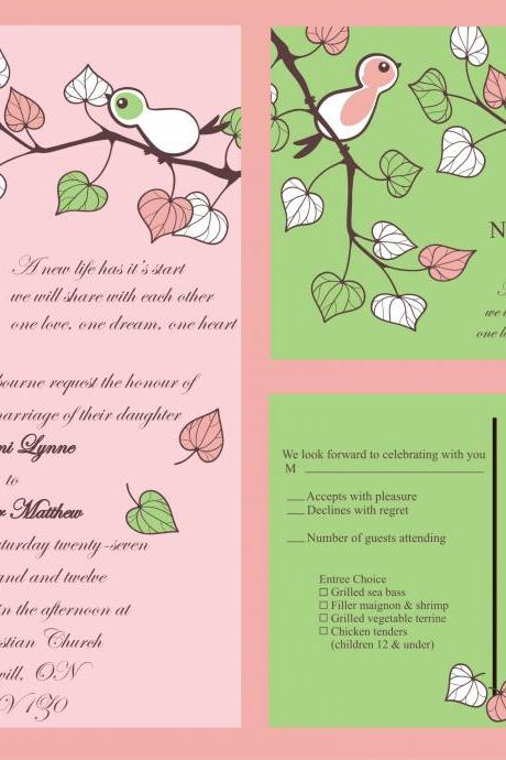 50 Personalized Wedding Invitations and matching RSVP set