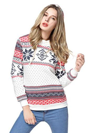 Woman's Snowflake And Stripes Pattern Hoodie Sweatshirt