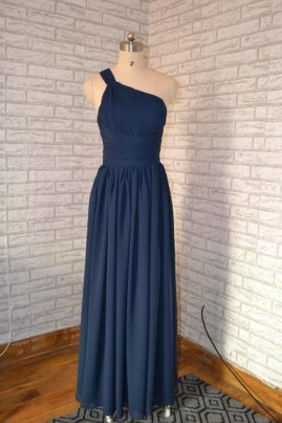 Navy Blue Ruched Chiffon One-Shoulder Floor Length A-Line Bridesmaid Dress, Formal Dress, Prom Dress