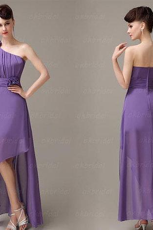 Purple Chiffon Ruched One-Shoulder High Low A-Line Bridesmaid Dress Featuring Rose Embellishments