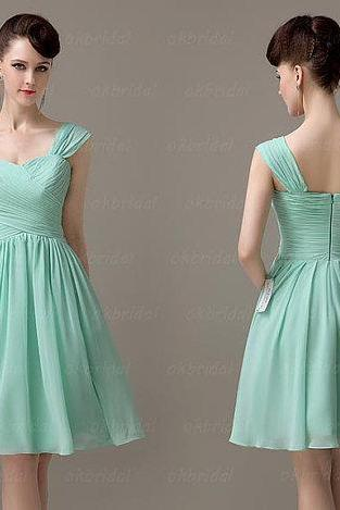 Mint Chiffon Ruched Sweetheart Shoulder Straps Short A-Line Bridesmaid Dress