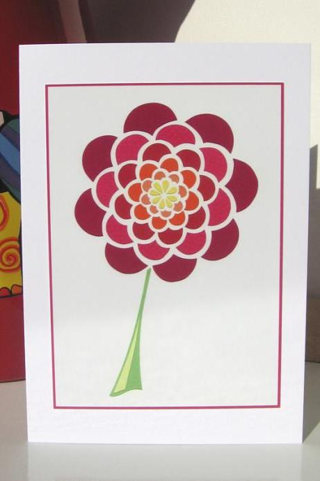 Greeting Card - Red Dahlia