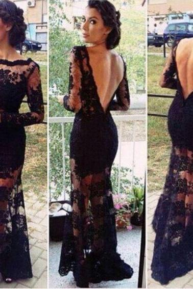 Elegant Black Embroidered Lace Backless Dress