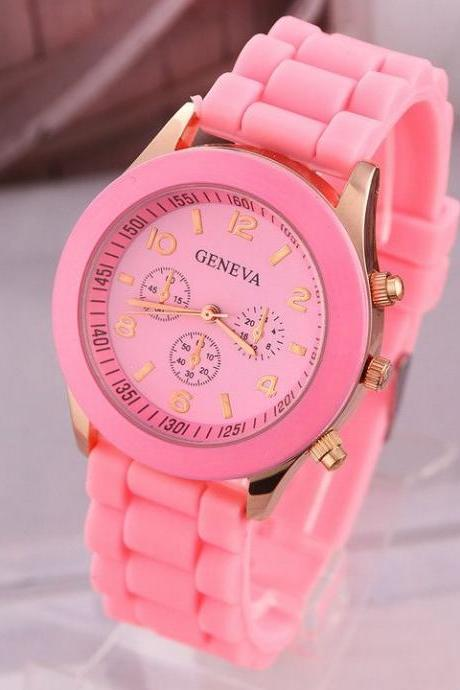 Rubber sport pink school girl trendy watch