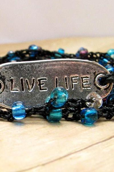 Boho Style Crochet Wrap Bracelet, Blue and Purple, Live Life Silver Message Plate, Necklace, Anklet, Summer Jewelry, Women's Fashion Accessory
