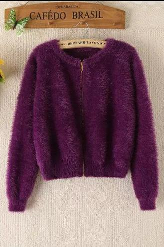 Round Neck Mohair Zipper Sweater Cardigan - Black, Purple, White, Pink