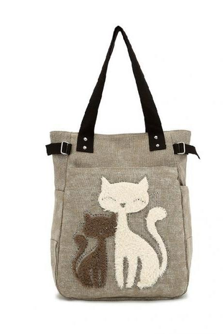 Adorable Khaki Cat Canvas Shoulder Bag/Tote