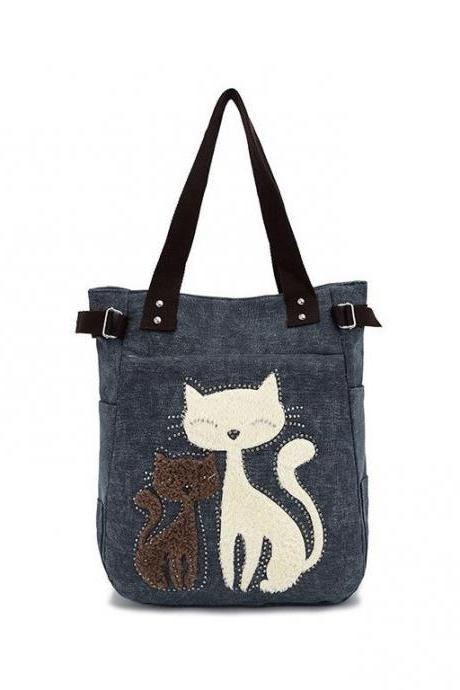 Adorable Blue Cat Canvas Shoulder Bag/Tote