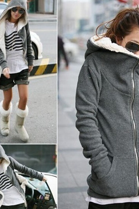 Autumn and winter new women's cashmere thickened lining Maomao Hooded Sweater