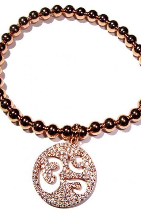 4mm rose gold filled beads with OM pave coin