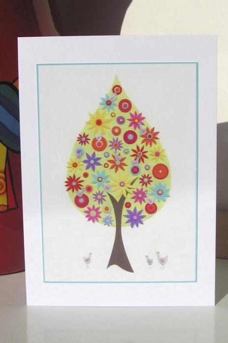 Greeting Card - Magnolia Blooms and Birds
