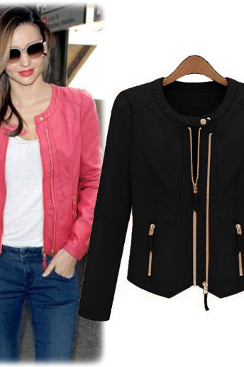 European New Winter Jacket Leather Zipper Long Sleeved Self-Cultivation