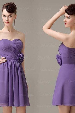 purple bridesmaid dress, simple bridesmaid dress, short bridesmaid dress, chiffon dress bridesmaid, cheap prom dress, CM006