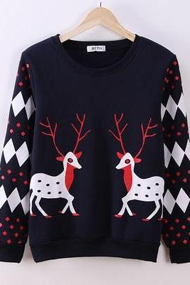 Fashion long-sleeved deer sweater QQ120DA