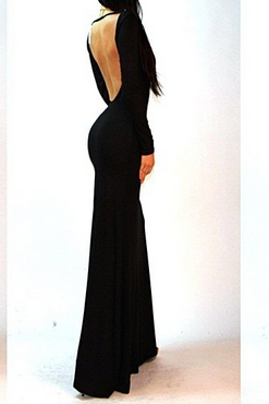Europe And The United States Women's Evening Dress Fashion Sexy Backless Slim Elegant Big Long Sleeve Dress
