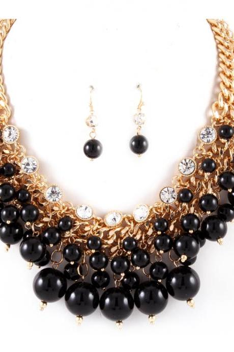Multi Layered Black Pearl Necklace, Cluster Bib Dangle Rhinestone and Pearl Necklace, Black Necklace
