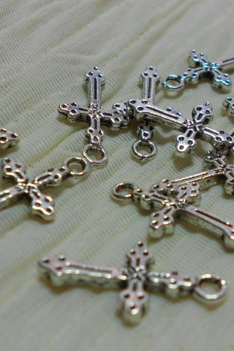 Fancy Silver Cross Charms