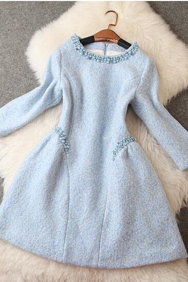 Fashion Handmade Beads Slim Woolen Dress CS1104G