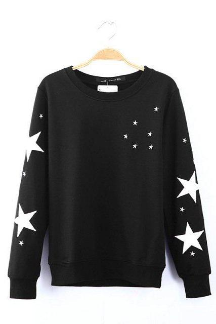 Star long-sleeved sweater QQ1208DD