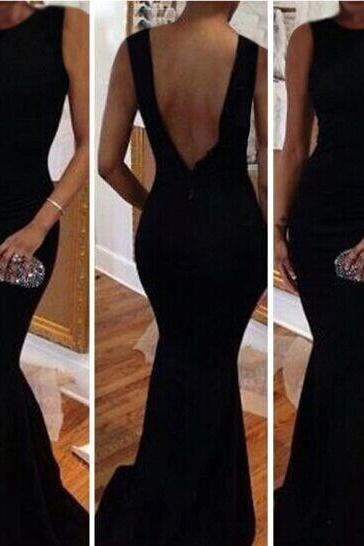 Sexy O Neck Tank Sleeveless Backless Black Mermaid Floor length Dress