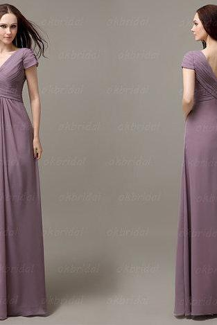 Short Sleeve Bridesmaid Dresses Long Chiffon Inexpensive