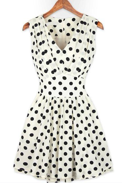 Adorable Tank Style V Neck Polka Dot Print Ball Gown Dress - White