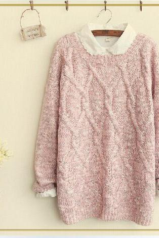 Lovely Round Loose Neckline Sweater For Autumn Autumn Sweater Sweaters