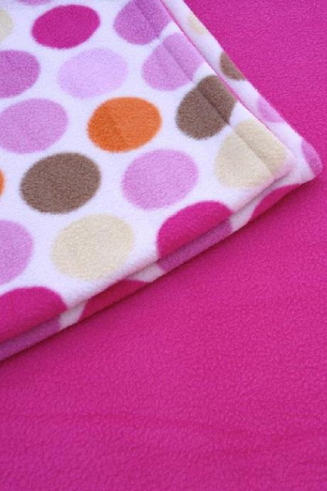 Baby Blanket & Sheet Set Pack and Play Handmade Fleece Bedding Set for Babies 'Ice Creamy' Polka Dot Print