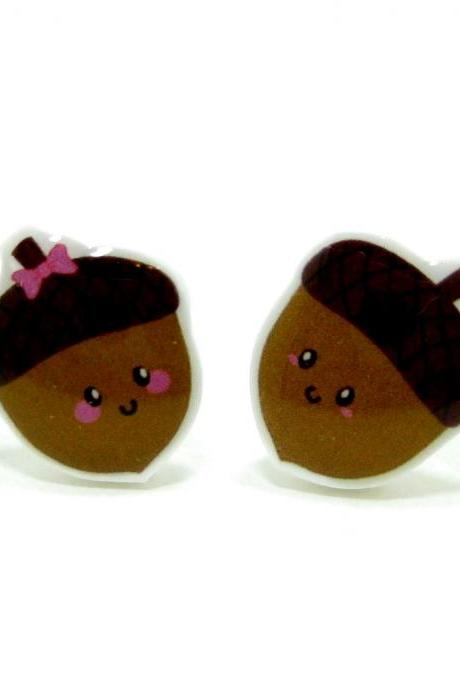 Acorn Earrings - Brown Sterling Silver Posts Studs Kawaii Cute