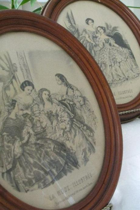 1940s Framed Victorian Fashion Prints La Mode Illustree Pair Vintage Art