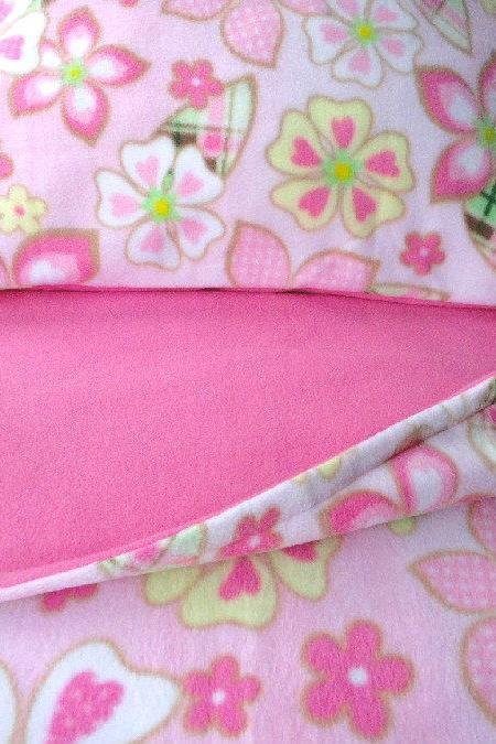 Girls Bed Set Handmade Fleece 'Pink Flower Power' for Girls Fits Crib and Toddler Beds