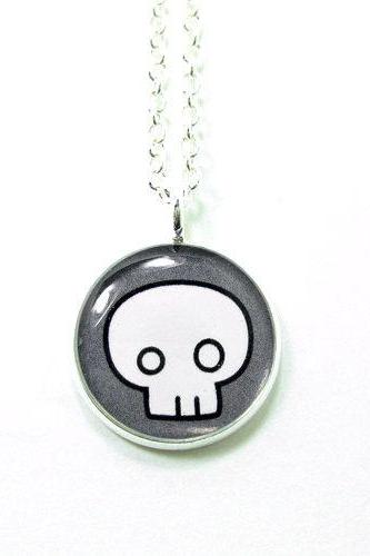 Skull Necklace - Grey Emo Punk Kawaii Cute Silver Plated 17 inch