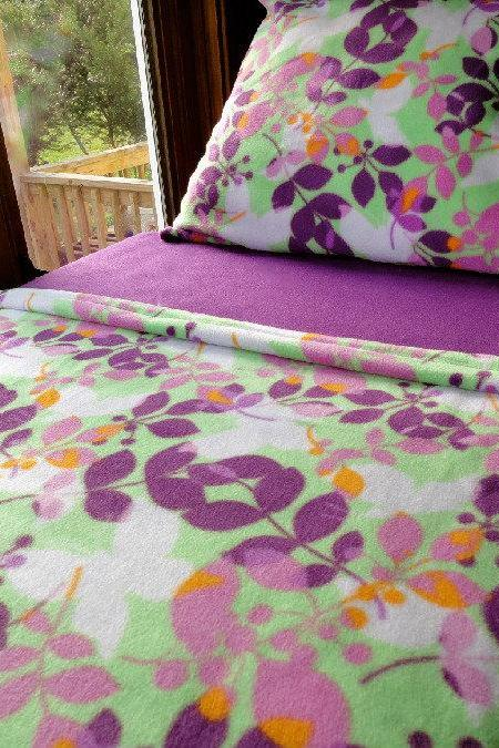Girls Toddler Fleece Bedding Set 'Spring Butterflies' Handmade Fits Crib and Toddler Beds