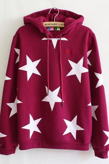 Stars Hooded Long-Sleeved Sweater