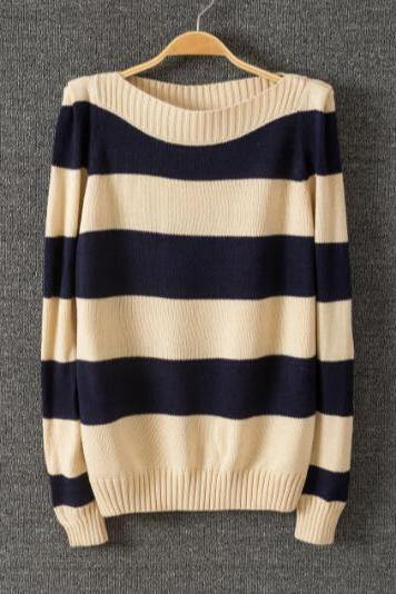 Sweet Striped Long-sleeved Sweater